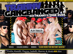 Tranny Gang Banged | One Guy Group-Fucked by an Orgy of Hot She-males and Sexy Transsexuals